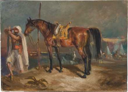araber mit pferd by hans von marees