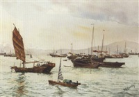 victoria harbour, hong kong by henry george gandy