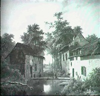 river landscape with figures on a bridge between two    cottages by j. coene