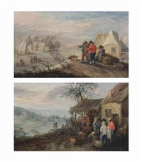 winter: a landscape with several figures on a frozen river by a village; autumn: a hilly landscape with figures making wine (pair) by theobald michau