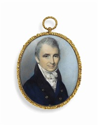 captain thomas sanders (1764-1822), in double-breasted blue coat with brass buttons, white waistcoat and knotted cravat; sky background by george engleheart