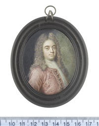 sir thomas hare, 4th baronet, mp (c.1688-1760), wearing crimson coat, white chemise and lace jabot, his full-bottomed natural wig falling over his shoulders by benjamin arlaud