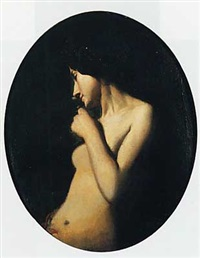 femme dans un clair obscur by charles auguste sellier