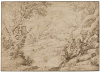 the temptation of christ in the wilderness by agostino carracci