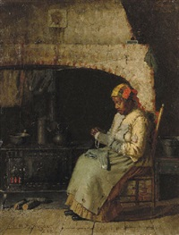 darning by the hearth by william henry snyder