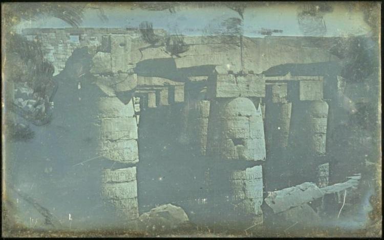 salle hypostyle, chapiteaux des galeries latérales karnac by joseph-philibert girault de prangey