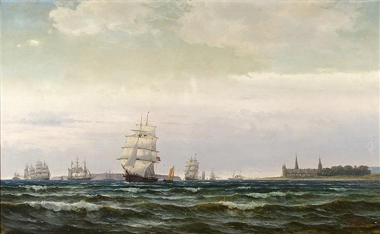 marint motiv med segelfartyg utanför kronborg slott by edvard skari