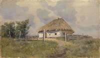 ukrainian hut on a hill by sergei ivanovich vasil'kovsky