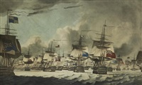 view of the british fleet bearing down to attack the dutch fleet under commanda of admiral de winter; passage of the sound (2 works) by robert dodd