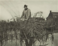 cutting the gladdon, plate xxxii (from life and landscape on the norfolk broads) by peter henry emerson