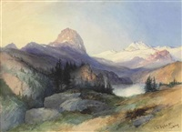in the big horn mountains, wyoming by thomas moran
