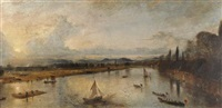 perth, sunset, the celebrations for the visit of queen victoria by david octavius hill