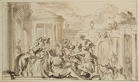 gruppo di personaggi e architetture by domenico piola
