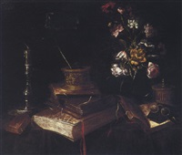 still life of books, a vase of flowers, a candle, a pair of glasses and an ink well by master of the vanitas texts