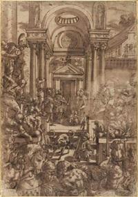 a l'intérieur d'un palais animé, deux enfants princiers sont confiés à des moines bénédictins by giulio benso