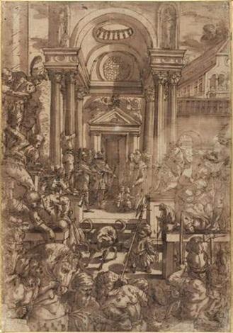a lintérieur dun palais animé deux enfants princiers sont confiés à des moines bénédictins by giulio benso
