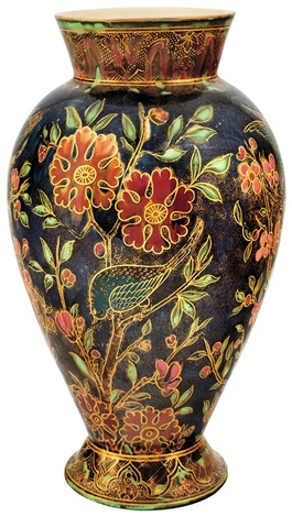 Vase With Blossoming Cherry Tree Branches And Songbirdss By Zsolnay