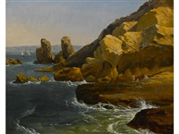 bathers along a rocky coast, believed to be northern california by albert bierstadt