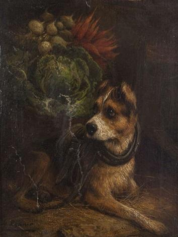 chien près d'un panier de légumes by henriette ronner-knip