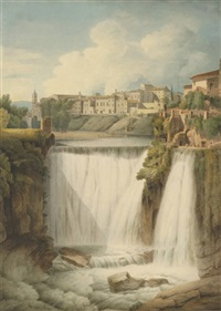 the cascades of tivoli with the town above, italy by francis towne