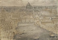 view of rome with the ponte sant angelo crossing the tiber, the basilica of saint peter's in the distance and the castel sant angelo on the right by lievin cruyl