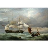an east indiaman hove-to, homeward bound, and a brighton fishing boat in choppy water by george philip reinagle