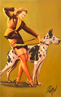 pin-up girl with dog by dennis ropar