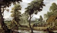 paysage vallonné avec paysans dansant le long d'une rivière by pieter van der hulst