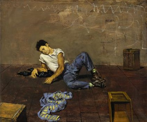man on floor leaning on elbow by walter stuempfig