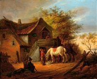 a white horse and some figures by a farm by eugène françois de block