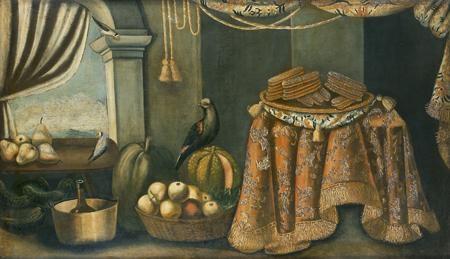 nature morte aux plat de biscuits corbeille de pommes et oiseaux by francesco fieravino il maltese