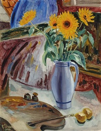 still life with sunflowers and painter's palette by ruurd elzer