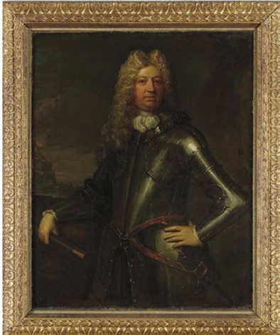 portrait of a military commander holding a baton in armor by thomas murray