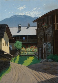 dorf in den alpen by karl (anton karl) zach