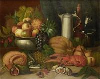 still life of shellfish, fruit and wine by josef kaspar correggio