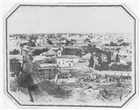 bukarest. vue perspective de la ville. chantier au premier plan by ludwig angerer