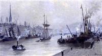 vue du port de rouen (?) by léon jules lemaitre