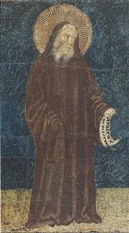 san benedetto, santo vescovo san martino (?), san giovanni gualberto, santo vescovo by buffalmacco