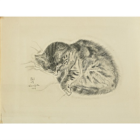 untitled (from a book of cats (5 works)) by léonard tsuguharu foujita