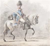 cavalry soldier on horseback by dirk langendyk