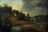 l'embarquement pour la kermesse villageoise (in 2 parts) by adrian fransz boudewijns and pieter bout