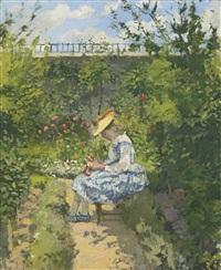 jeanne pissarro (dite minette) assise au jardin, pontoise by camille pissarro