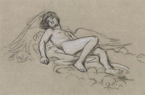 group of 4 drawings by elihu vedder