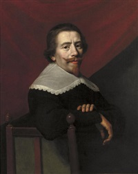 self-portrait seated in a black coat and lace collar, a red curtain beyond by jacob van hasselt