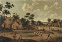 a village with numerous figures in the street by cornelis droochsloot