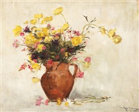 pot with yellow flowers by dimitrie mihailescu