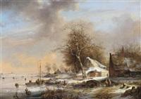 paysage hivernal avec patineurs by albert eduard moerman