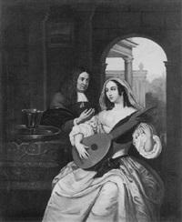 joueuse de mandoline et son professeur by hermann gollner