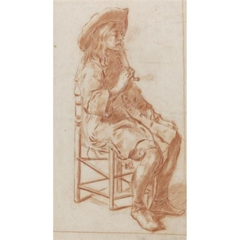 a seated man in a hat smoking a pipe by pieter cornelisz van slingeland