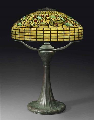 swirling oak leaf table lamp by tiffany studios